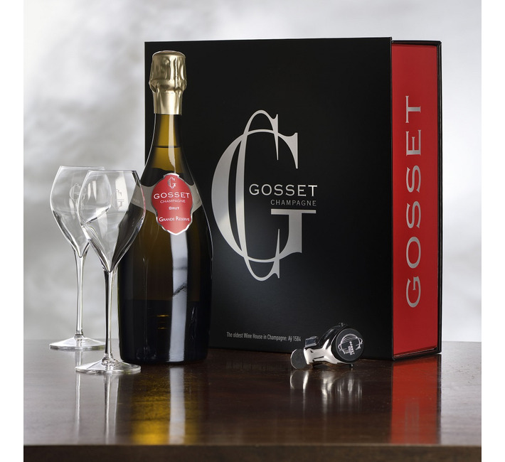 Gosset Grande Réserve and 2 glasses (in Limited Gift Box)